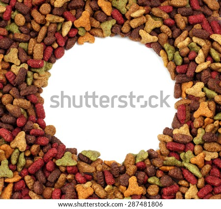 Square or rectangular frame of pet (dog or cat) food for background - stock photo