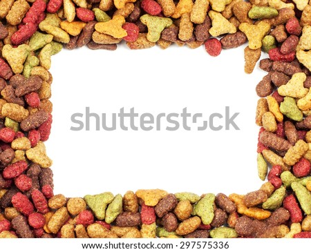 Square or rectangular frame of pet (dog or cat) food for background use - stock photo
