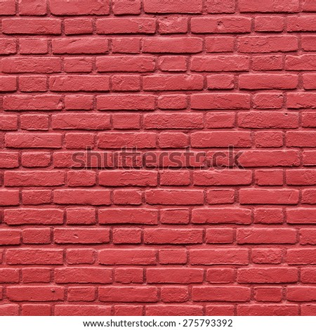 square part of red painted brick wall - stock photo