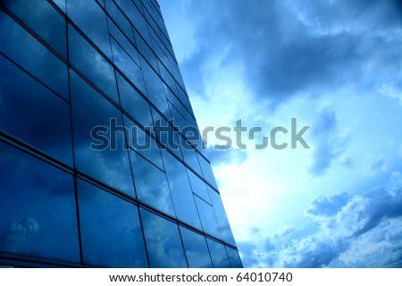 square pattern and the blue sky, building in Thailand - stock photo