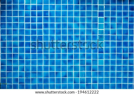 square pattern of blue tile for home decorate or swimming pool - stock photo