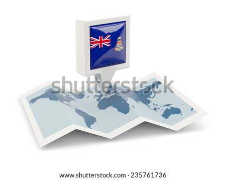 Square pin with flag of cayman islands on the map - stock photo