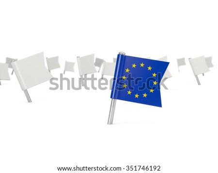 Square pin with flag of european union isolated on white - stock photo