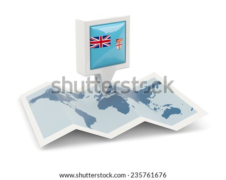 Square pin with flag of fiji on the map - stock photo