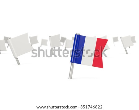 Square pin with flag of france isolated on white - stock photo