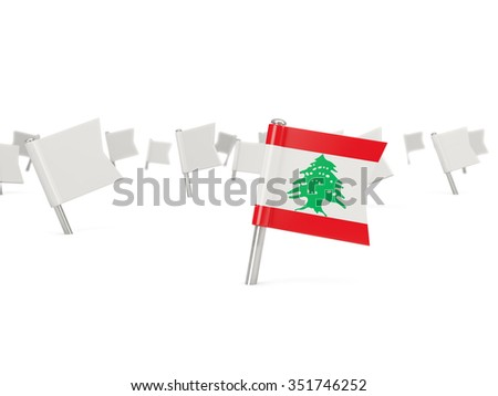Square pin with flag of lebanon isolated on white - stock photo