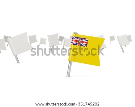 Square pin with flag of niue isolated on white