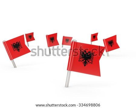 Square pins with flag of albania isolated on white - stock photo