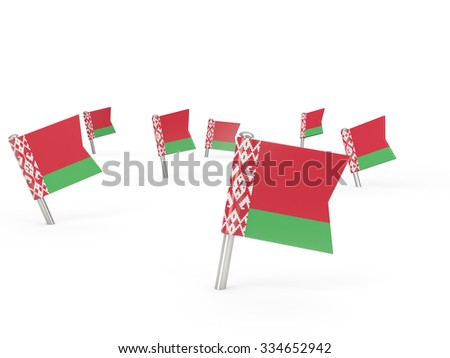Square pins with flag of belarus isolated on white
