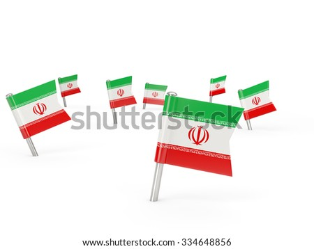 Square pins with flag of iran isolated on white - stock photo
