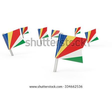 Square pins with flag of seychelles isolated on white