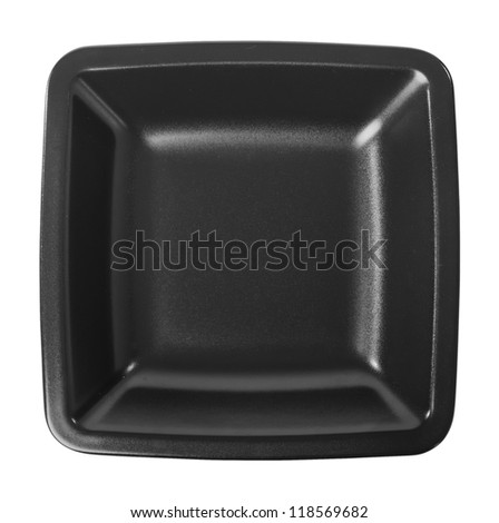 Square plate isolated on white - stock photo
