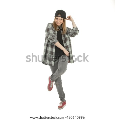 square portrait of beautiful smiling woman in casual clothes isolated on white background