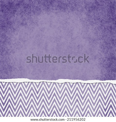 Square Purple and White Zigzag Chevron Torn Grunge Textured Background with copy space at top - stock photo