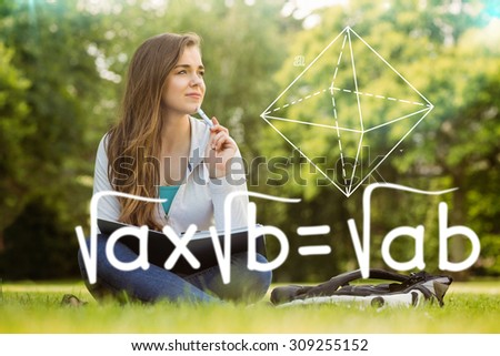 Square roots against thinking student sitting and holding book - stock photo