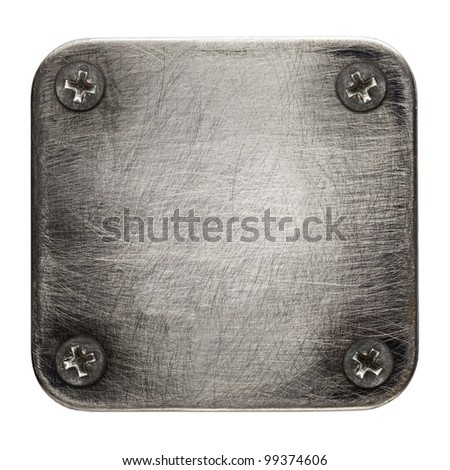 Square shape metal plate texture with screws. - stock photo