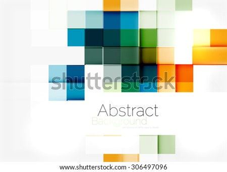 Square shape mosaic pattern design. Universal modern composition. Clean colorful mosaic tile background with copyspace. Abstract background, online presentation website element or mobile app cover  - stock photo