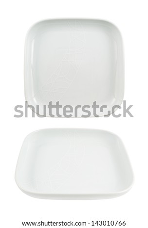 Square shaped empty ceramic plate dish isolated over white background, set of two foreshortenings - stock photo