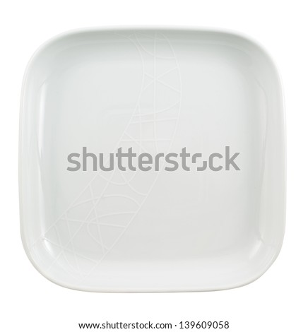 Square shaped empty ceramic plate dish isolated over white background, top view
