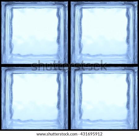 Square shaped of blue glass bricks - Seamless pattern Background - stock photo