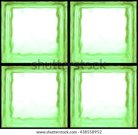 Square shaped of glass bricks - Seamless pattern Background - Green color - stock photo