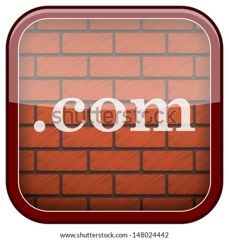 Square shiny icon with white design on bricks wall background - stock photo