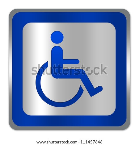 Square Silver Metallic With Blue Border Plate For Wheelchair Handicap Toilet Sign Isolate on White Background - stock photo