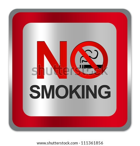Square Silver Metallic With Red Border Plate For No Smoking Sign Isolated on White Background - stock photo