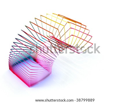 square slinky spring toy isolated on a white background - stock photo