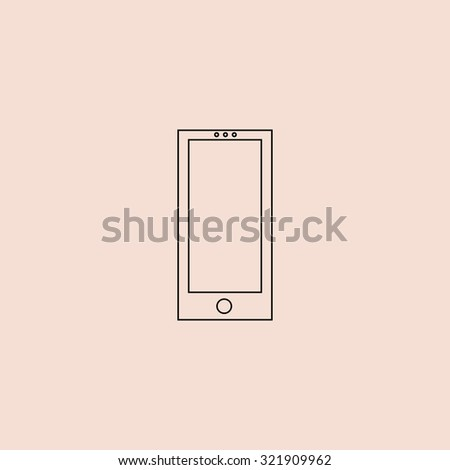 Square smartphone. Outline icon. Simple flat pictogram on pink background