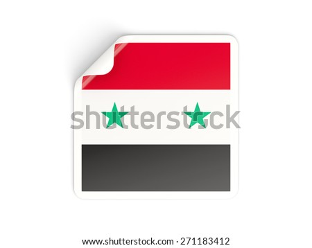 Square sticker with flag of syria isolated on white - stock photo