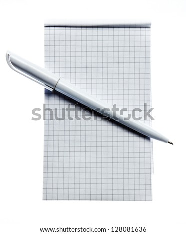 Square stripped notepad with pen on white background - stock photo