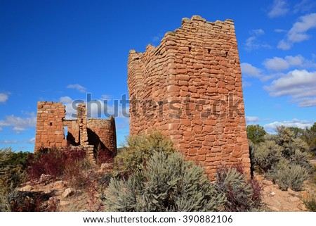 square tower unit  trail and ruins in     hovenweep national monument, colorado     - stock photo