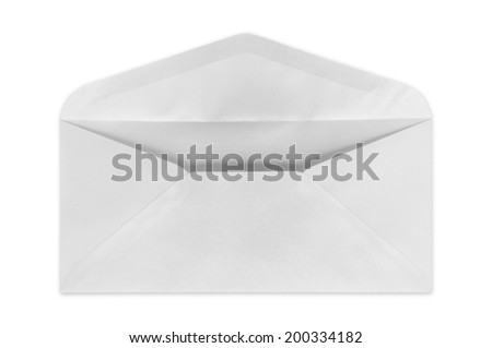 Square white envelope open on a white background.