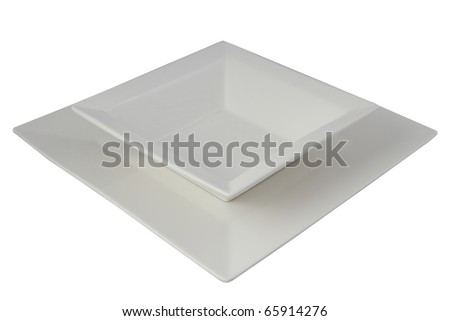 square white plate and bowl