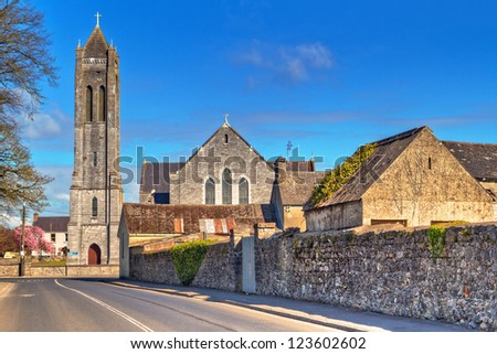 Square with church in Portumna town, Co. Galway, Ireland