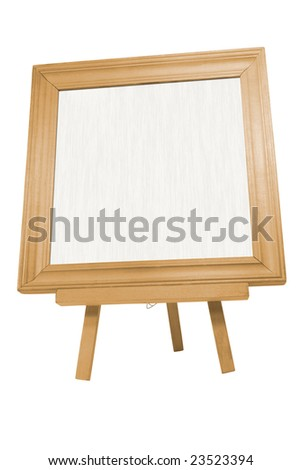 square wooden frame on easel and brush with clipping path - stock photo