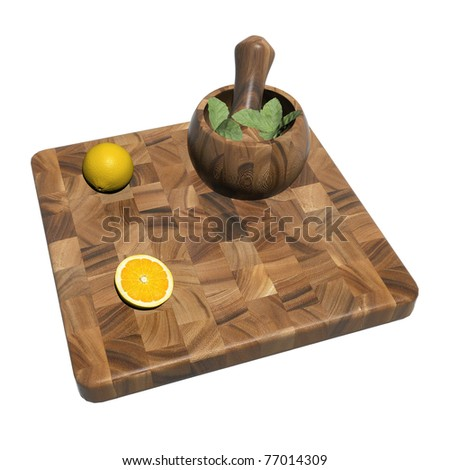 Square wooden sushi platter with whole and sliced orange and mint leaves on a mortar and pestle, 3d illustration, isolated against a white background