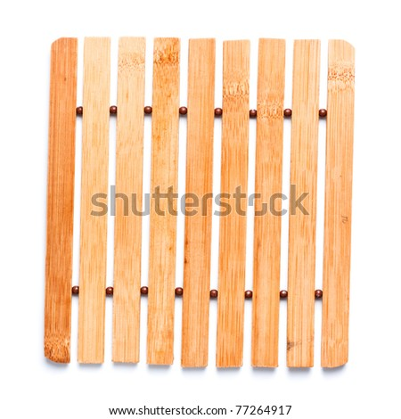 square, wooden trivet isolated on white background - stock photo