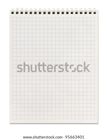 squared spiral notebook, isolated on white, clipping path included