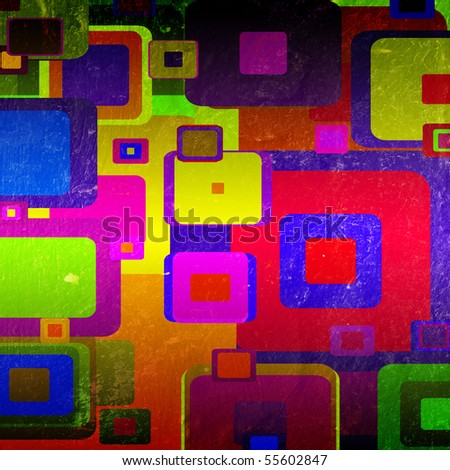 squares on the grunge wall, abstract background - stock photo
