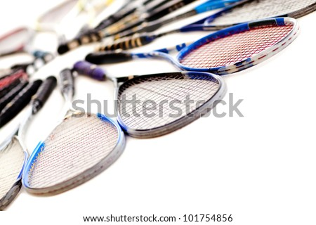 Squash rackets - isolated over a white background