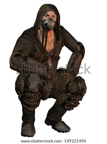 Squatting Man with gas mask in the end look - stock photo