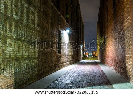 Squeaky-clean alley, Old Town, Wichita, Kansas. - stock photo