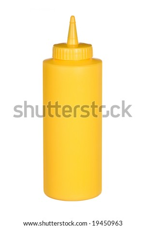 Squeeze bottle of mustard Isolated on a white background for use in any type of promotion.