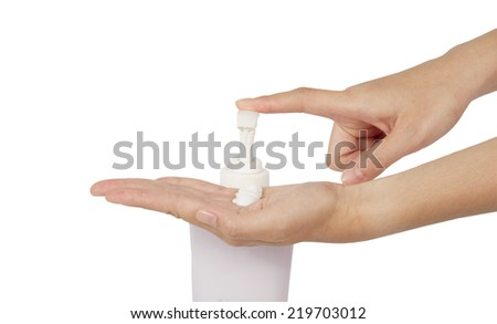 Squeeze the hand lotion isolated on white background. - stock photo