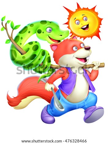 Squirrel, stick, snake, spoon and sun on white background