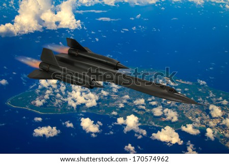 SR-71 'Blackbird' supersonic cold-war spy plane from 20th century flys over Guam Island. It flew missions from Guam over Asia and Russia. (Artist impression/recreation photo) - stock photo