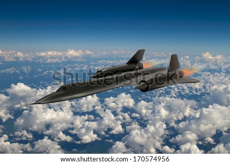 SR-71 'Blackbird' supersonic spy plane from 20th century. It was an advanced, long-range, Mach 3+ strategic reconnaissance aircraft from the USA. (Artists Impression/recreation photo) - stock photo