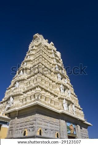 Sri Chamundeshwari Temple on Chamundi Hill in Mysore, India - stock photo